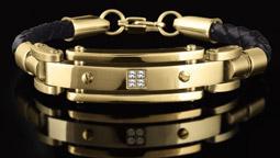 دستبند چرم و طلا