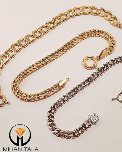 دستبند طلا کارتیه زنجیر ریز سفید
