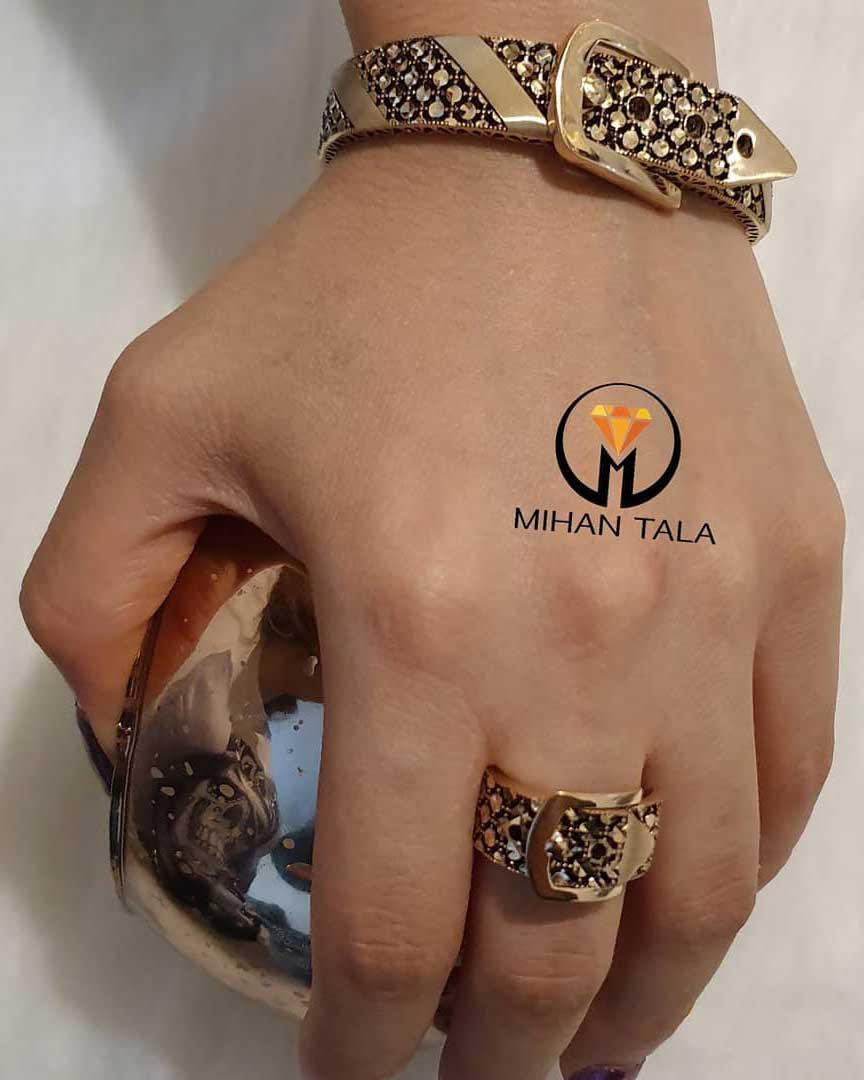 دستبند پهن و انگشتر کمربندی صدف - قیمت انگشتر