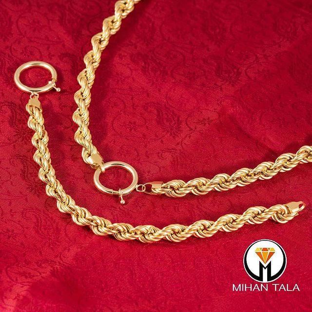 گردنبند و دستبند طلا طنابی